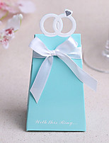 Ring Design Pyramid Favor Boxes With Ribbons (Set of 12)