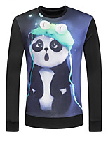 Men's Panda Cartoon Print Casual Cotton Long Sleeve Black Sweatshirt Pullover