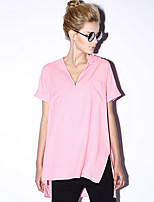 Newbefore Women's Casual/Daily Simple Summer BlouseSolid Shirt Collar Short Sleeve Pink / White
