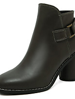 Women's Boots Elastic Buckle Gore Ankle Boots Chunky Middle Heel Fashion Boots Black