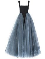 Formal Evening Dress Ball Gown Spaghetti Straps Sweep / Brush Train Tulle with Pick Up Skirt / Tassel(s)