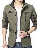 Men's Long Sleeve Casual / Work Jacket Coat Cotton / Polyester Fashion Solid Regular Sipper / Single Breasted Outerwear