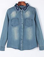 Vestes en Jean Aux femmes,Couleur Pleine Décontracté / Quotidien simple Automne Manches Longues Col de Chemise Bleu Coton Moyen