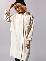 NEW BEFORE  Women's Casual/Daily Simple Shirt DressStriped Shirt Collar Knee-length Long Sleeve