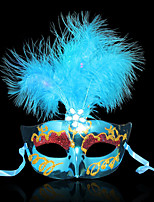 halloween máscara princesa masquerade emplumada máscara feminina pena luminosa LED iluminado máscara de fibra óptica máscara do partido