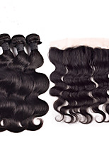 4pcs/lot Malaysia Virgin Hair With Frontal Closure 13*4Ear To Ear Lace Frontal Closure With Hair Bundles
