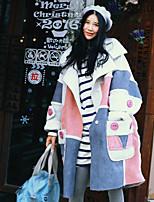 Feminino Casaco Happy-Hour / Casual Moda de Rua Inverno,Color Block Branco Raiom Lapela Chanfrada-Manga Longa Grossa