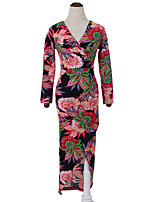 Women's Casual/Daily Chinoiserie Bodycon DressFloral V Neck Midi Long Sleeve Red Cotton Fall High Rise Inelastic