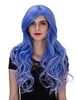 длинный синий европейской и американской моды клуб большие волны вьющиеся волосы