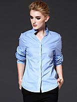 FRMZ Work Simple Spring / Fall ShirtStriped Shirt Collar Long Sleeve Blue Cotton Medium