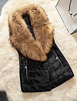 Женский На каждый день / Большие размеры Однотонный Пальто с мехом V-образный вырез,Уличный стиль Зима Черный Без рукавов,Искусственный