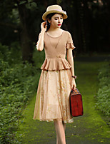 Our Story Going out Vintage Loose / Sheath DressFloral Round Neck Knee-length Short Sleeve Beige Cotton