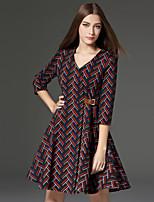 Trapèze Robe Femme Travail Vintage,Géométrique Col en V Au dessus du genou Manches ¾ Rouge Coton / Polyester Printemps / AutomneTaille