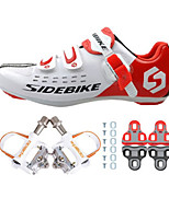 01 Cycling Shoes Unisex Outdoor / Road Bike Sneakers Damping / Cushioning White / Red-sidebike And White Rock Pedals