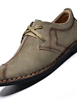 Men's Oxfords Comfort Leather Casual Flat Heel Lace-up Gray / Navy / Khaki Others