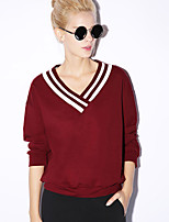 NEW BEFORE  Women's Casual/Daily Simple Regular HoodiesSolid Blue / Red / Black V Neck Long Sleeve