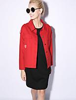 NEW BEFORE  Women's Going out Street chic Spring / Fall JacketsPrint Shirt Collar Long Sleeve Red / Green