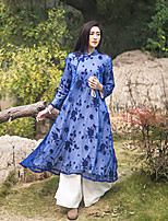 Courte Robe Femme Décontracté / Quotidien Vintage,Broderie Mao Midi Manches Longues Bleu Autres Automne / Hiver Taille NormaleNon