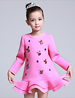 Girl's Casual/Daily Print DressCotton / Polyester Winter / Spring / Fall Pink / Red