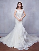 Trumpet / Mermaid Wedding Dress Court Train Scoop Lace with Beading / Lace
