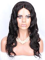 16-26 перуанский девственное тело волна волос бесклеевой полный парик шнурка цвет натуральный черный волос младенца для чернокожих женщин