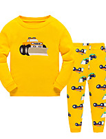 Boy's Casual/Daily Print Clothing SetCotton Winter / Fall Yellow