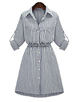 Women's Plus Size Street chic Shirt DressStriped Shirt Collar Above Knee  Sleeve Blue Polyester Spring / Fall Mid