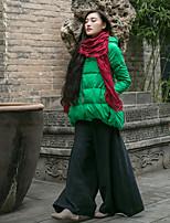 Пальто Простое Обычная Пуховик Женский,Однотонный На каждый день Другое Пух белой утки,Длинный рукав Капюшон Зеленый