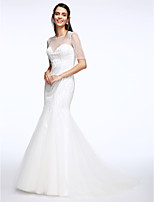 Lanting Bride® Trumpet / Mermaid Wedding Dress Court Train Jewel Tulle with Beading / Button