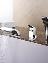 Modern Tub Waterfall / Handshower Included with  Ceramic Valve 1-Handle 3-Holes for  Chrome  Bathtub Faucet
