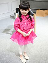 Girl's Casual/Daily Solid BlouseCotton Fall Pink / White