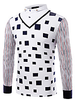 Men's Long Sleeve PoloCotton / Spandex Casual / Work / Formal / Sport / Plus Size Striped / Plaid / Solid
