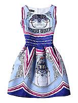 Feminino Evasê Vestido,Happy-Hour Vintage Estampado Decote Redondo Acima do Joelho Sem Manga Azul Poliéster Todas as EstaçõesCintura