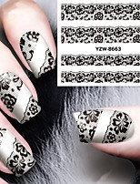 Sexy and Elegant Black Lace Applique Nail Watermark
