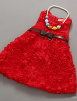 Menina de Vestido,Casual Cor Única Poliéster Verão Vermelho