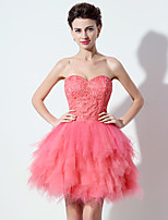 Cocktail Party Dress A-line Sweetheart Short / Mini Tulle with Sequins