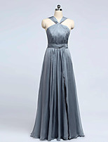 Formal Evening Dress A-line Halter Floor-length Chiffon with Draping / Split Front