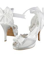 Damen-High Heels-Hochzeit Kleid Party & Festivität-Stretch - Satin-Stöckelabsatz-Plateau-Elfenbein