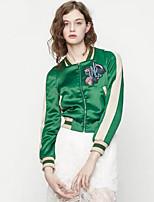 Damen Stickerei Street Schick Lässig/Alltäglich Jacke,Stehkragen Frühling / Herbst Langarm Grün Polyester Mittel
