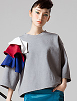 ROOM404  Women's Going out Simple Spring BlouseSolid Crew Neck Sleeve White / Gray Cotton Opaque