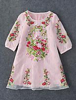 Damen Lose Kleid-Ausgehen Chinoiserie Stickerei Rundhalsausschnitt Mini ½ Länge Ärmel Rosa Elasthan / Andere Sommer Mittlere Hüfthöhe