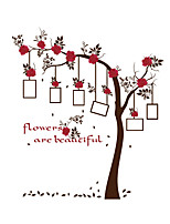 Wall Stickers Wall Decals Style Red Flower Photo Frame Tree PVC Wall Stickers