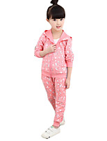 Girl's Casual/Daily Print Clothing SetCotton Spring / Fall Green / Pink / Red