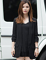 I'HAPPY Women's Work Simple Spring / Fall BlazerSolid Long Sleeve Black Polyester Opaque