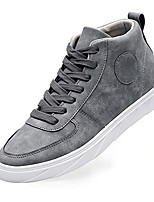 Men's Flats Spring / Fall Comfort / Round Toe PU Casual Flat Heel Lace-up Black / Gray / Khaki Walking