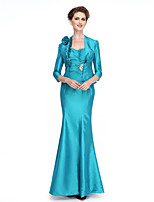 Lanting Bride®Trumpet / Mermaid Mother of the Bride Dress Ankle-length 3/4 Length Sleeve Taffeta withBeading / Crystal Detailing / Flower(s)
