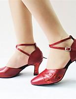 Customizable Women's Dance Shoes Paillette Leatherette / Flocking Latin / Modern Sandals / Heels