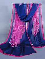 Women's Chiffon Flowers Print Scarf Orange/Navy Blue/Fuchsia