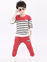 Boy's Cotton Fashion Spring/Fall Casual/Daily/Sports Patchwork Stripes Tee And Pants Two-piece Set