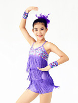 Latin Dance Dresses Women's / Children's Performance Spandex / Paillettes / Sequins / Tassel(s) 4 PiecesPurple / Red